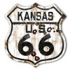 Kansas Route 66 Vintaged Metal Sign