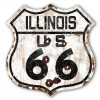 Illinois Route 66 Vintaged Metal Sign